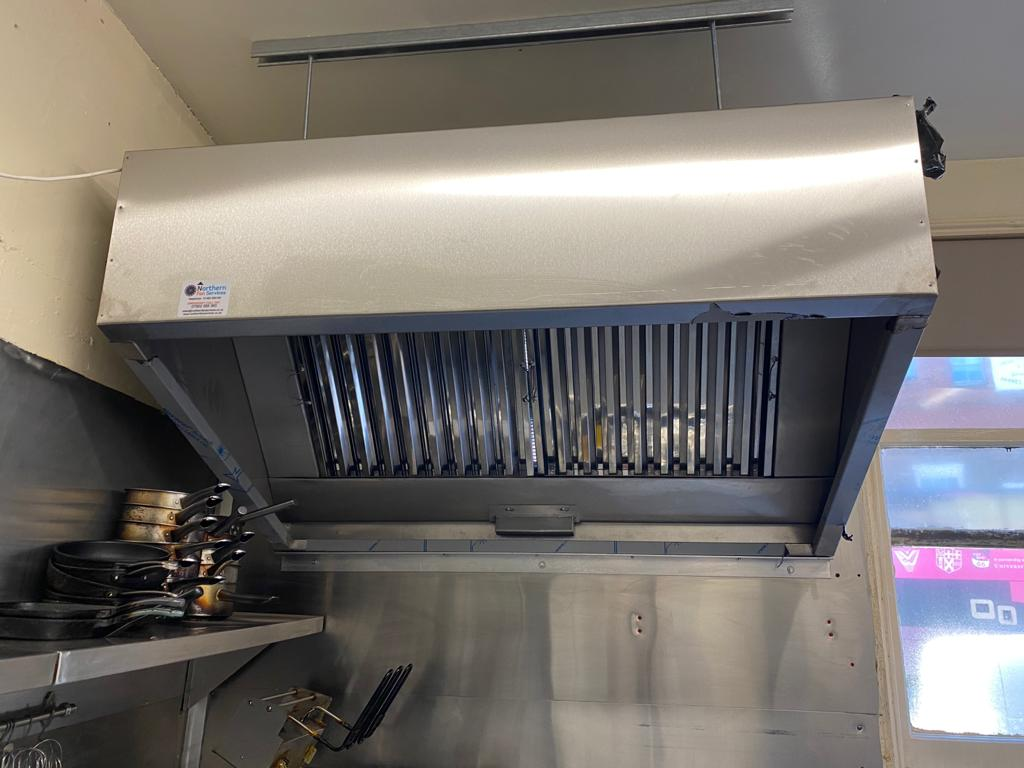 New extraction system install in York city centre. Bespoke made commercial stainless steel canopy. Kitchen extraction system fitted.