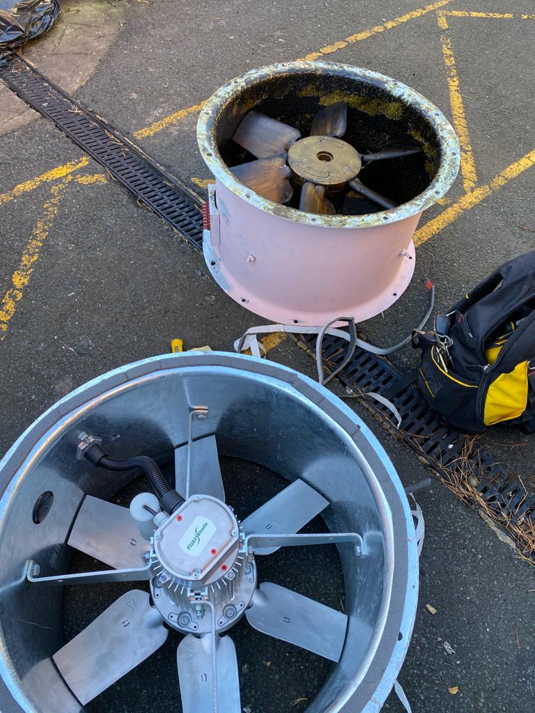 Extractor fan breakdown. Commercial extractor fan repair. Restaurant fan replacement.