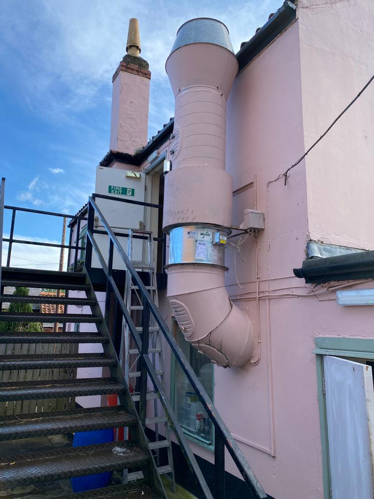New extractor fan installed to external ductwork in West Yorkshire pub.