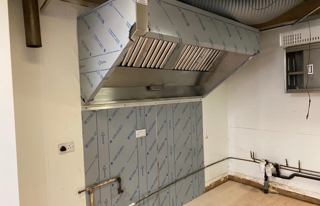 New kitchen canopy, commercial extraction system install.
