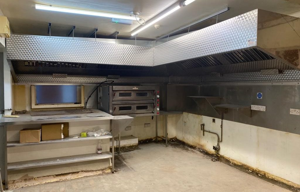 Full commercial kitchen canopy install.